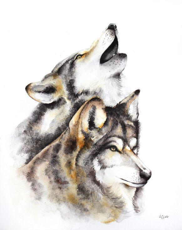 ARTFINDER:  wolves - animals, wildlife watercolo... by Karolina Kijak - Original watercolors of wolves Paper 300g,  100% cotton size 32x44cm  Follow me on facebook: https://www.facebook.com/kijakwatercolors