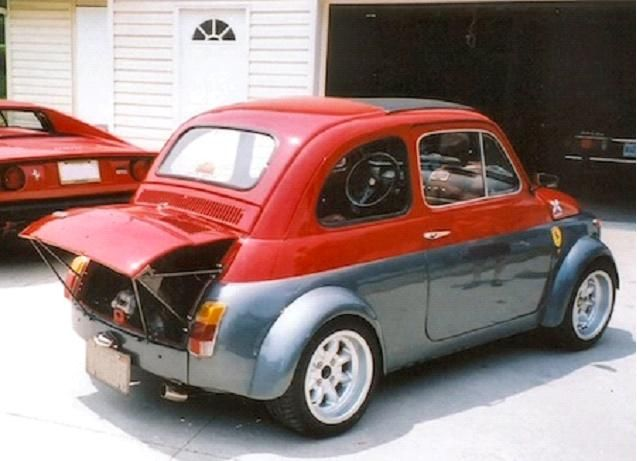 1970 Fiat 500 Abarth - (Abarth is Fiat's performance division). I am not a lover of 'cute' cars (Beetle, MG Midget, Morris Minor, etc).  BUT if you can play off that cuteness, toughen it up, give it a more aggressive stance and increased road presence, you could be backing a winner...but then, add a motor which is so big (relatively) that you have to sell them with the engine cover propped up, it becomes as rare and precious thing...I've only driven one once and it was F.U.N...K
