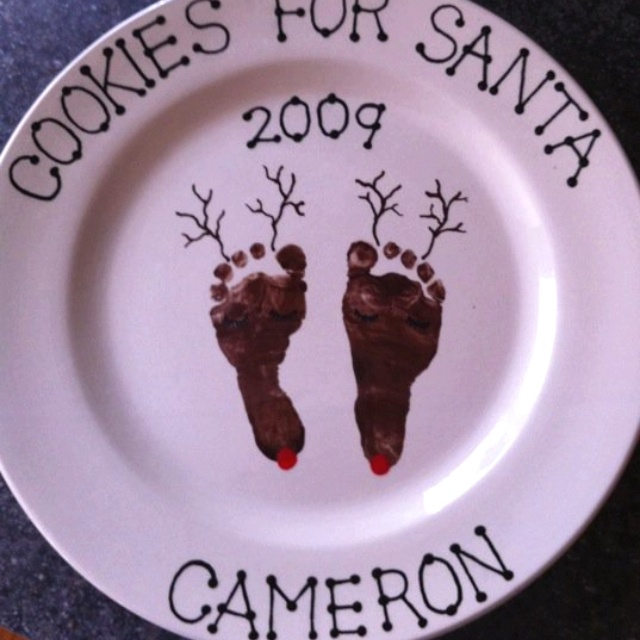 Christmas Reindeer Footprint Art (done at The Ceramic Studio ETC. in Howell Michigan)