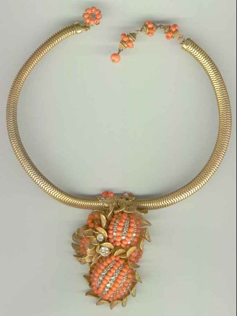 Miriam Haskell coral necklace