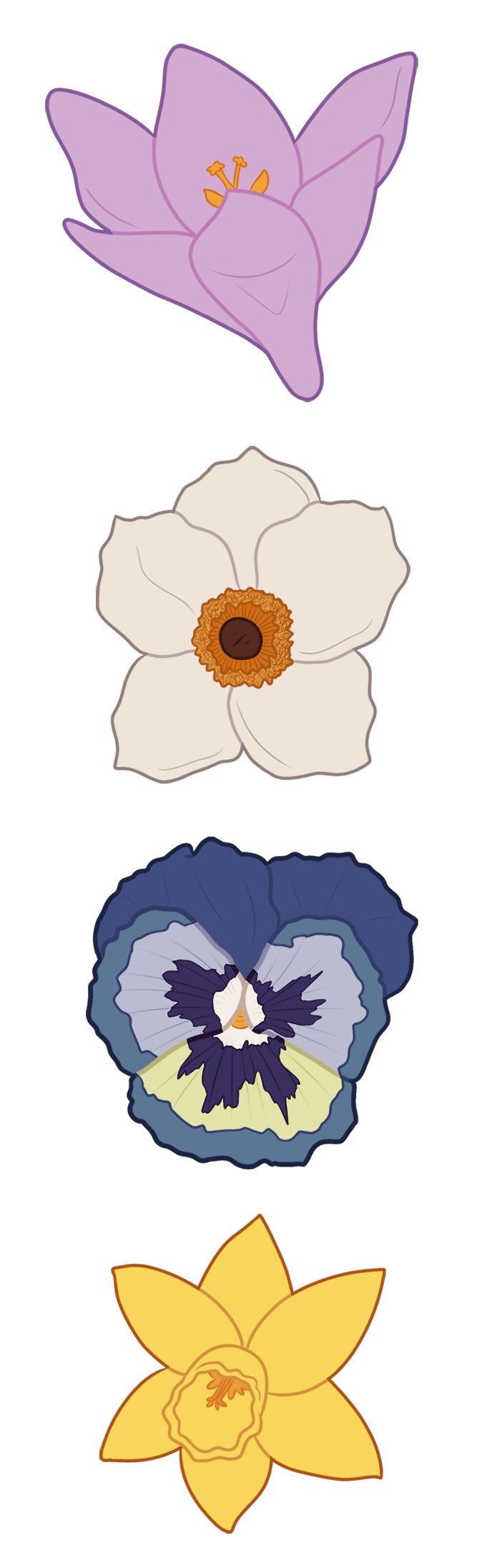 A little sneak peak of a new clip art set I'm working on! It's going to be a set of spring flowers in pastel colors, each flower getting a couple of different color variations. #spring #flowers #clipart #pastel
