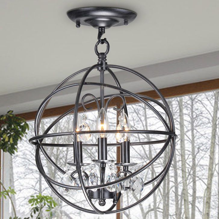 Modern chandelier lighting rustic crystal ceiling fixture metal globe round new