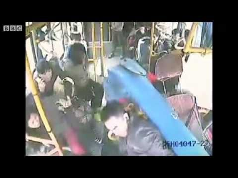 China Bus Driver Dodges Pole Through Windscreen