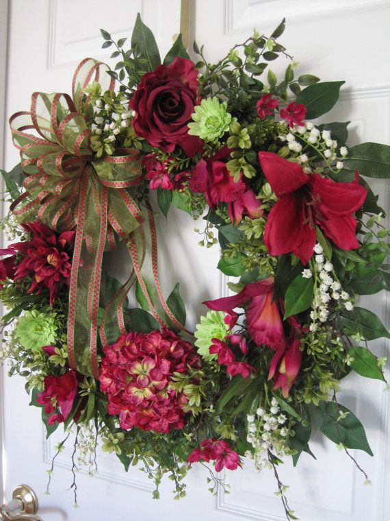 SALE! RASPBERRY LIME Spring Wreath Summer Wreath Easter Wreath Mothers Day Wreath Silk Flowers Grapevine Front Door Wreath Free Shipping
