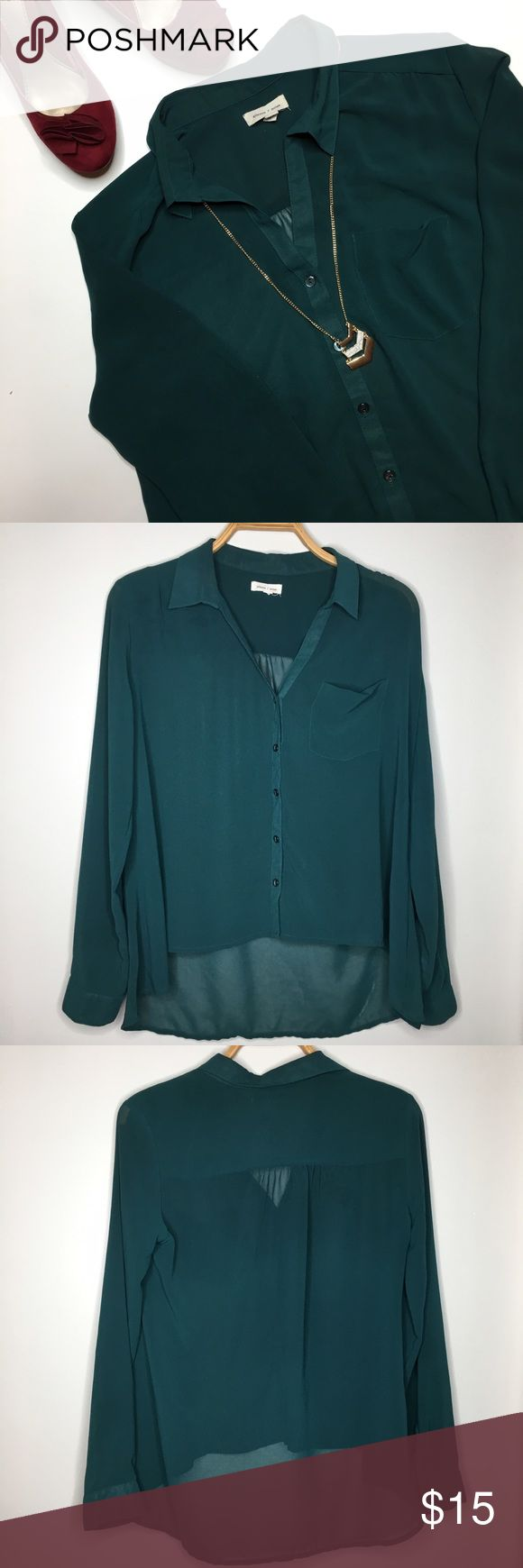 Urban Outfitters Silence + Noise Sheer Top Like new Urban Outfitters Silence + Noise sheer button down teal top with pocket. Size medium Urban Outfitters Tops