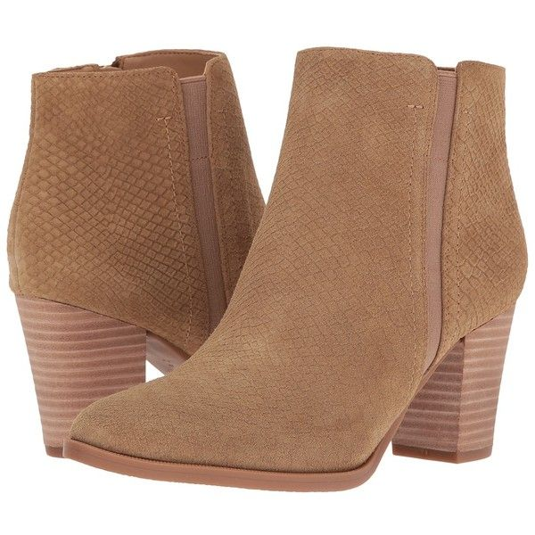 Franco Sarto Dipali (Camel Suede Snake) Women's Zip Boots found on Polyvore featuring shoes, boots, ankle booties, ankle boots, bootie boots, side zipper boots, faux suede boots and zip ankle boots