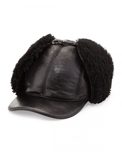 Prada Leather and Shearling Trapper Baseball Cap Black Men's | Hat, Headwear and Accessory