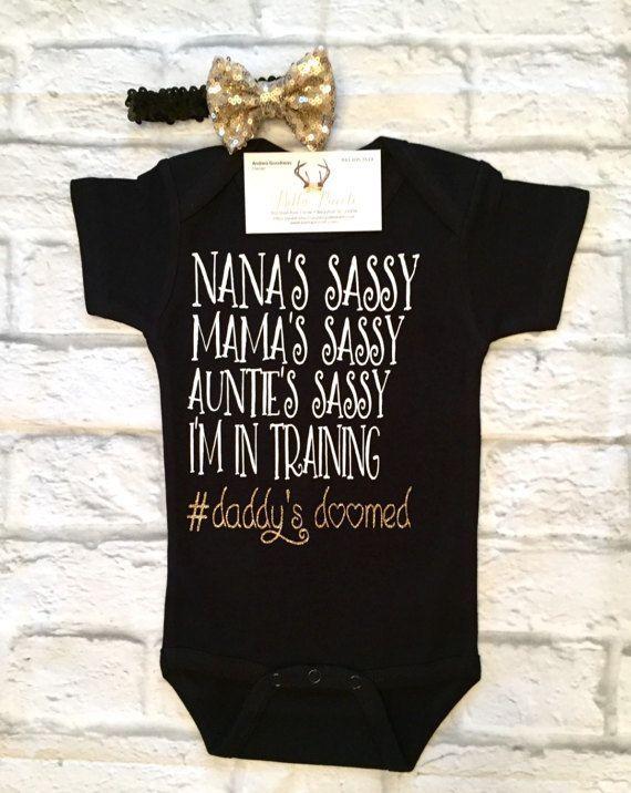 Baby Girl Clothes, Sassy Bodysuits, Sassy Like My Mama,Sassy Like My Aunt Shirts, Nana Bodysuits, Niece Bodysuits, Sassy Like My Aunt, Black Bodysuit - BellaPiccoli
