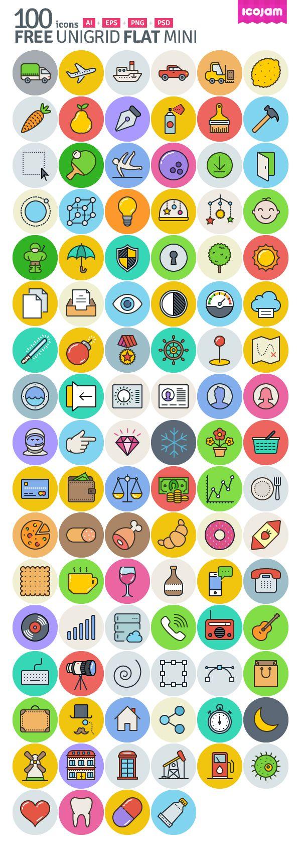 Unigrid Flat: 100 Free Icons #freeicons #freepsdicons #lineicons #flaticons #vectoricons