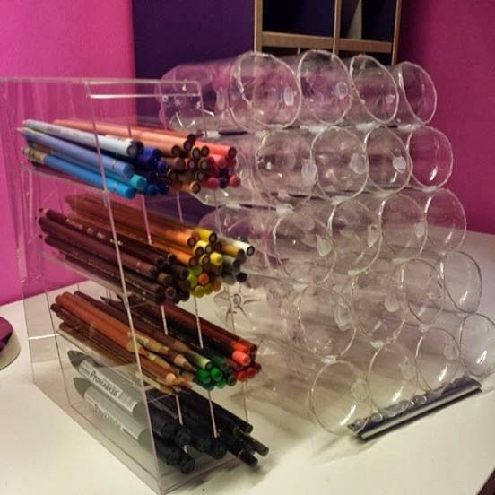 I have made a pen organizer from small PET bottles =)