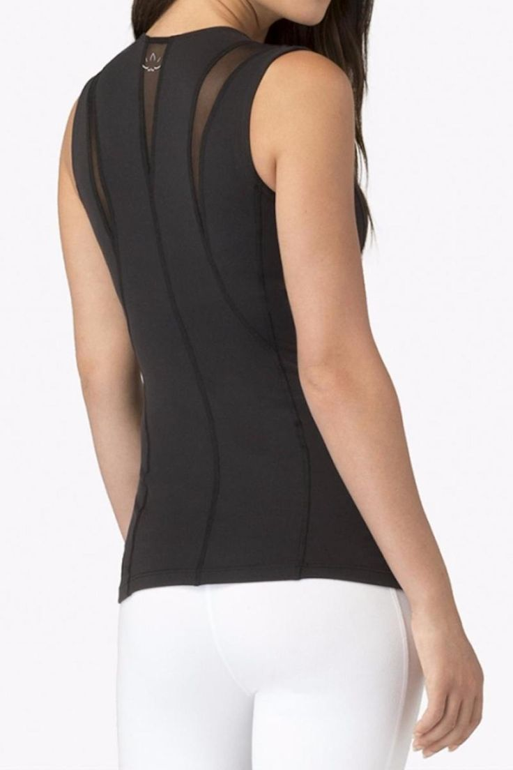 This mesh tank top with perfect for yoga or heading out to dinner with friends. Features a black mesh inset at the shoulders and back. There is support jelly tape at shoulders to keep the top from moving around while you yoga! Has a low hip length with self shelf bra.   Mesh Tank by Beyond Yoga. Clothing - Tops - Sleeveless Hawaii