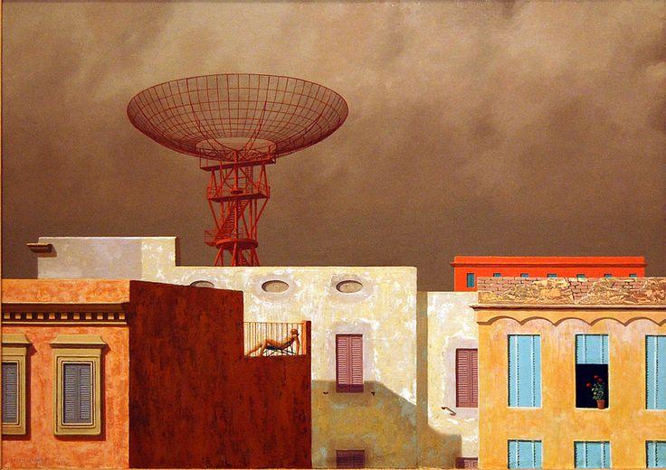 Jeffrey Smart - Rooftops, 1968-69