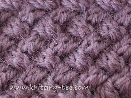 Small diagonal cable basketweave knitting stitch patttern. This stitch creates a very tight and dense fabric. Cast on mulitples of 4 Row 1: k2 *slip 2 sts to cable needle at the back, k2, k2 from cable needle; rep from * to last 2 sts, k2 Row 2: purl Row 3: *slip 2 sts to cable needle at the front, k2, k2 from cable needle; rep from * to end Row 4: purl