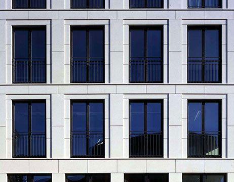 Detail of the facade of the Haus am Karlplatz in Berlin by Walter Arno Noebel.