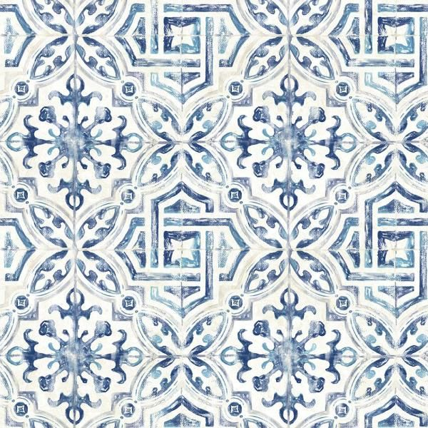 Chesapeake Sonoma Blue Spanish Tile Paper Strippable Roll Covers 56 4 Sq Ft 3117 12332 The Home Depot Geometric Wallpaper Brewster Wallpaper Spanish Tile