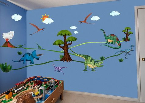 Dinosaurs wall murals for preschool classroom wall for Classroom wall mural ideas