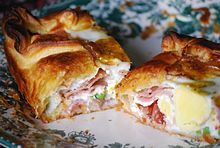 another national dish of NEW ZEALAND is bacon and egg pie, eaten hot or cold