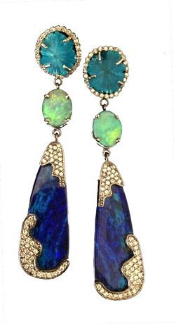 Stand Out Collections From Jewelry Week- 18k Gold, Opal, Cavansite and Diamond Earrings