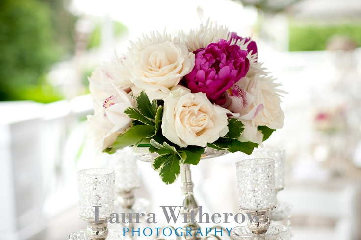 White roses, pink peonies and cymbidium orchids with