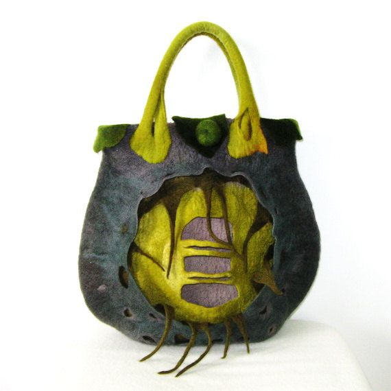 Felted Bag Purse Handbag Felt Wool Handmade Art Green ❤ by Yadviga, $140.00