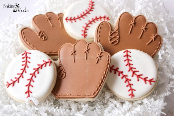Baseball Decorated Cookies Baseball and Glove by Bakinginheels, $36.00