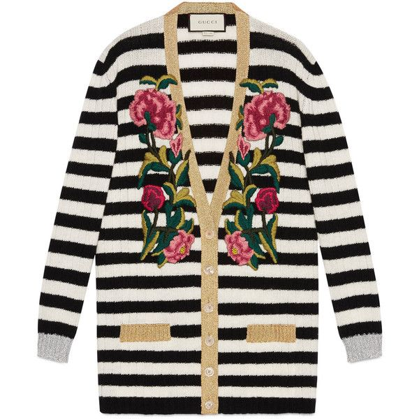 Gucci Embroidered Cashmere Wool Oversize Cardigan (€2.040) ❤ liked on Polyvore featuring tops, cardigans, jackets, floral print cardigan, oversized tops, stripe top, ribbed cardigan and floral stripe top