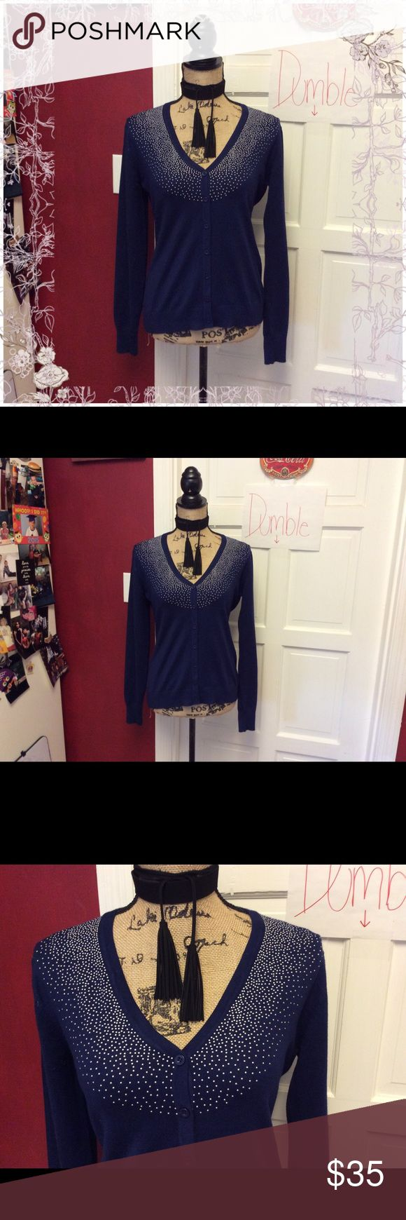 🦉🍁navy & silver cardigan 🦉🍁 New with tags pretty navy and silver cardigan- rayon and nylon blend - nice and lightweight melrose chic ny Sweaters Cardigans