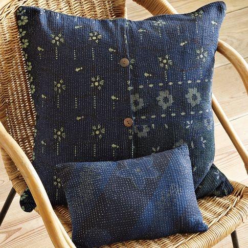 recycled saris make beautiful pillows India. kantha cloth