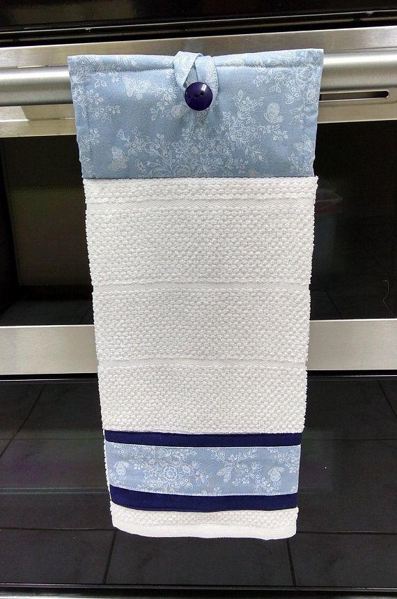 Hanging Oven Door White Towel Light Blue Potholder White Towels