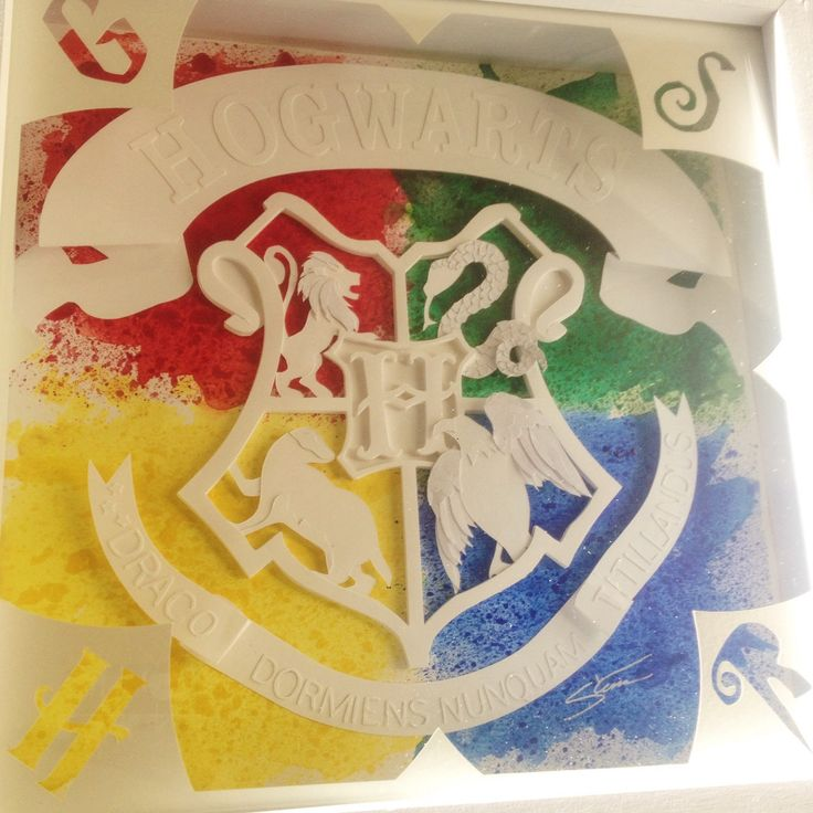 Hogwarts Crest, Harry Potter Gift, Paper Cut Art, Paper Sculpt, Geek Gift, Gryffindor, Hufflepuff, Slytherin, Ravenclaw, Shadow Box Art by StinaVStudio on Etsy