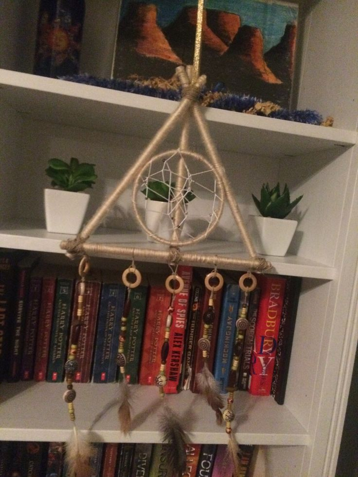 Harry Potter Deathly hallows symbol dream catcher by diagonallydecoration on Etsy https://www.etsy.com/listing/398946147/harry-potter-deathly-hallows-symbol