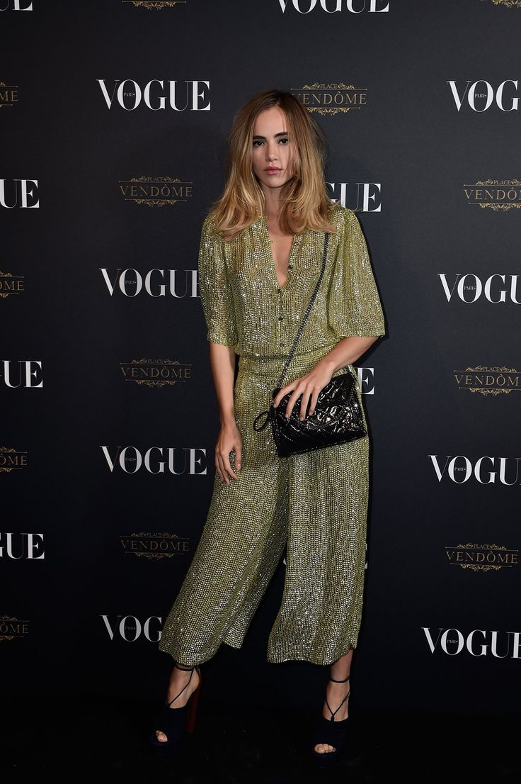 Suki Waterhouse in a sparkly jumpsuit.