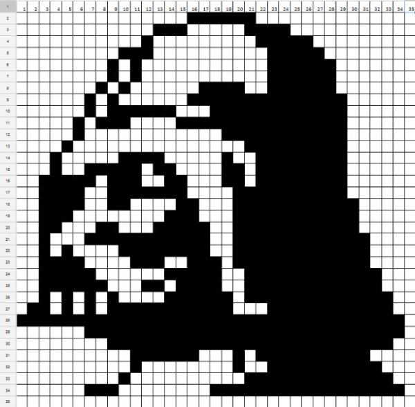 Star Wars Darth Vader perler bead pattern by Kristen Goodrich