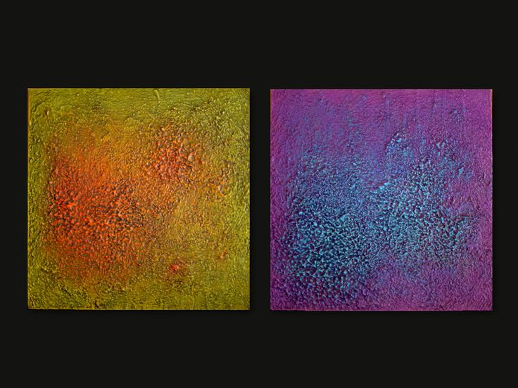 Set of 2 square abstract paintings on wood panels. Made to order Processing time: 10-14 days Colorful abstract heavy texture painted with acrylyc colors. A brilliant finish protects the paintings from dust and light. The paintings come ready to hang, the edges are painted so they don't need to be framed. Choose the size of eachpanel in the variations: cm. 50 x 50 x 2 = inches 19 3/4 x 19 3/4 x 3/4 cm. 60 x 60 x 2 = inches 23 3/4 x 23 3/4 x 3/4