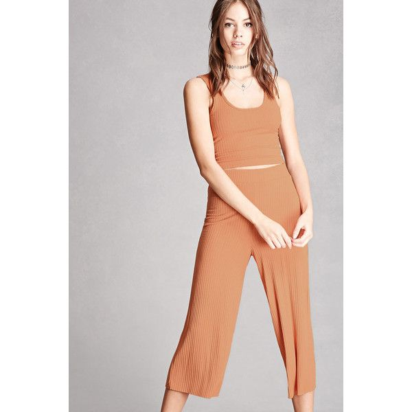Forever21 Ribbed Capri Pants ($12) ❤ liked on Polyvore featuring pants, capris, salmon, elastic waistband pants, capri pants, elastic waist wide leg pants, elastic waist pants and capri trousers