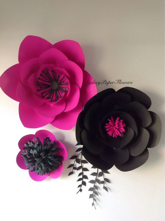 Paper flowers backdrop 3 black and hot pink by SydneyPaperFlowers