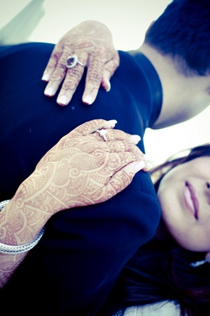 South Asian Engagement Photo – Love the mehndi.