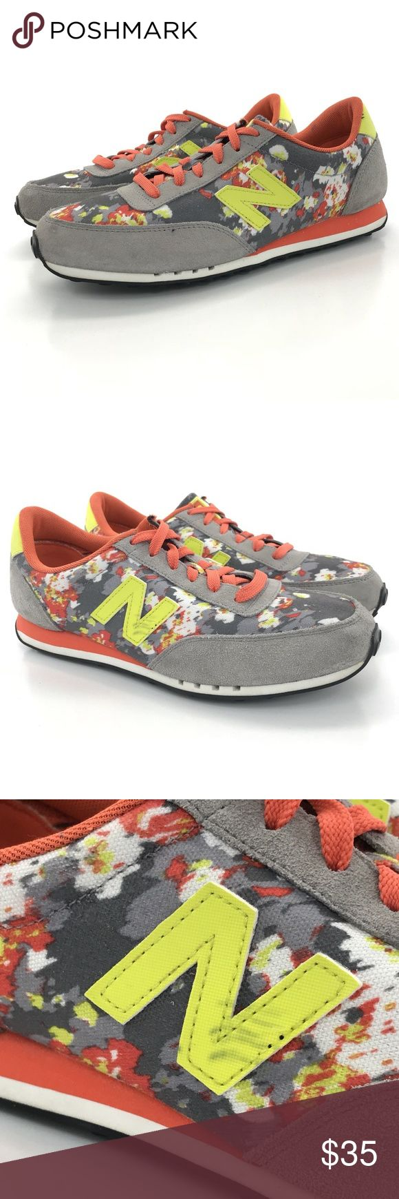 New Balance 410 floral Blur Suede Canvas Shoes New Balance 410 floral Blur Women's Size 11 Grey Orange Yellow  Lace Up Suede Canvas Casual Sneaker  BRAND: New Balance SIZE/WIDTH: 11 STYLE#/NAME: WL410SL 410 floral Blur TYPE: Casual Sneaker COLOR: Floral Grey Orange Yellow FASTENING: Lace-Up MATERIAL: Suede Canvas CONDITION: Very Good preowned condition with normal signs of light use. These Do have what looks like pen marks on the N of the outer right shoe. Otherwise only light wear to the…