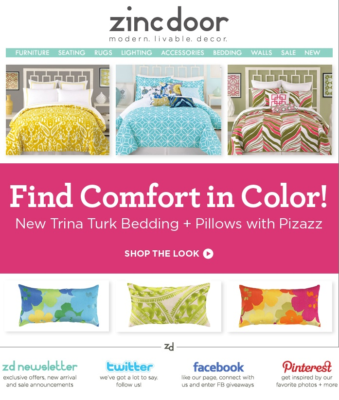 New colorful & bright bedding from Trina Turk! #zincdoor #newsletters #bedding