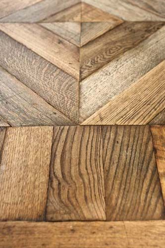 Antique Original French Oak Flooring in Chevron Pattern