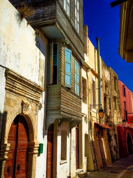 Colourful old houses in the streets of Rethymno Town