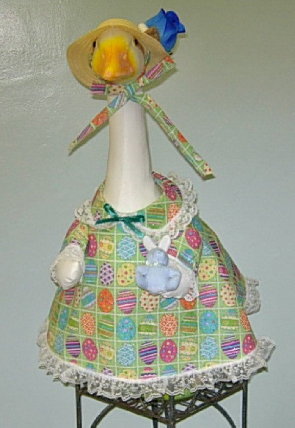 """Easter green background with brightly colored eggs outfit for 24-26"""" lawn geese or garden goose by KraftKorner on Etsy"""
