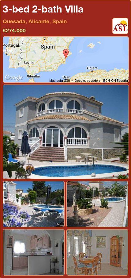 3-bed 2-bath Villa in Quesada, Alicante, Spain ►€274,000 #PropertyForSaleInSpain
