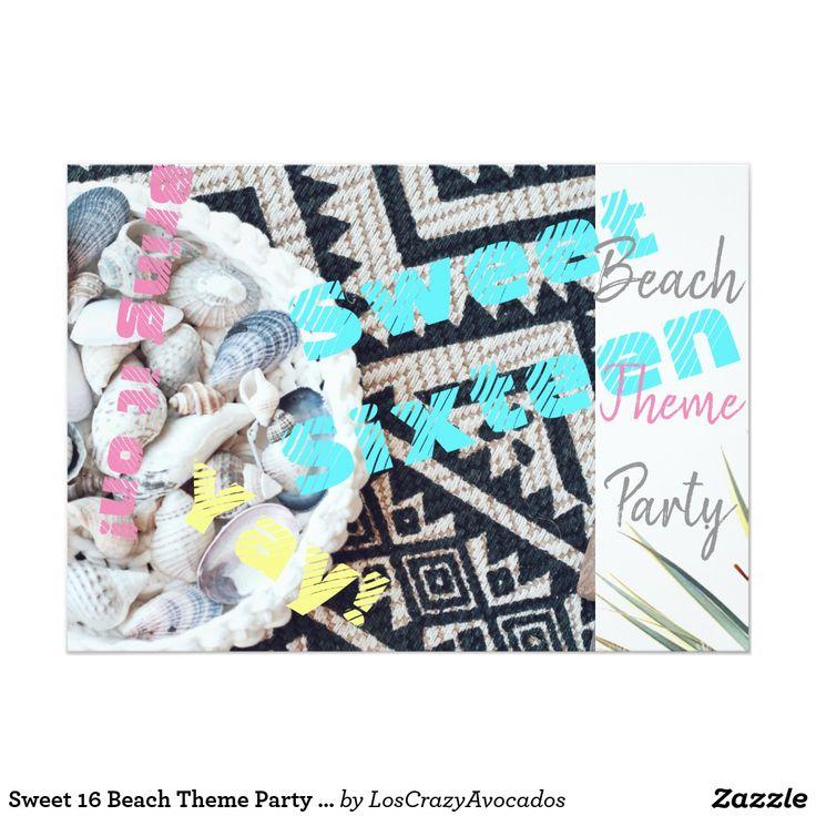 Sweet 16 Beach Theme Party Shells Invitation