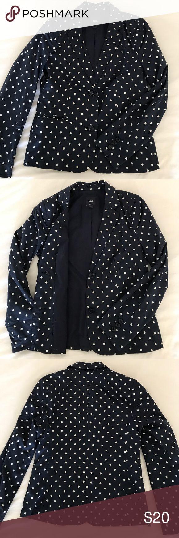Gap polka dot blazer Navy two button polka dot blazer with two slit pockets on the front GAP Jackets & Coats Blazers