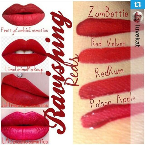 """#Repost @luvekat ・・・ RAVISHING REDS Swatches , wanted to show off some of my  FAV liquid to matte Lipsticks  Top is Zombettie from @prettyzombiecosmetics , Red Velvet from @limecrimemakeup , REDRUM from @jeffreestarcosmetics and Poison Apple @lasplashcosmetics ❤️❤️ and may I add , the pics on the Left were taken from google images and Brand IG's """" these are not my lips """" , I only did the swatches !!! To avoid any drama or confusion !! XoxoWHICH IS YOUR FAVORITE ?????"""