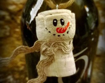 Snowman Cork Ornament or Hang On a Bottle of Wine for a Gift