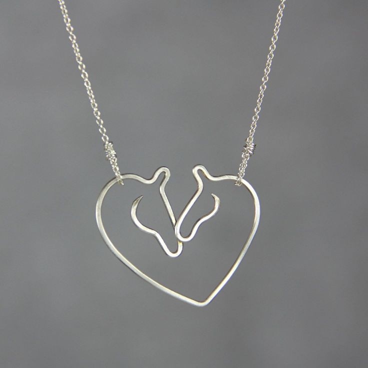 Sterling silver love horse Kentucky Derby heart pendant necklace Free US Shipping handmade Anni designs #JewelryIdeas