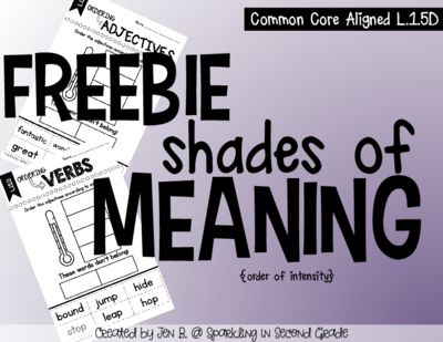 Shades of Meaning Freebie from Sparkling in Second on TeachersNotebook.com -  (3 pages)  - A fun and engaging, cut/paste/sort for shades of meaning. It will help the students visually see the way to level similar words by intensity!