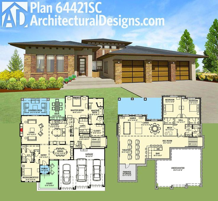 879 best home plans images on pinterest floor plans for Lake house plans for sloping lots